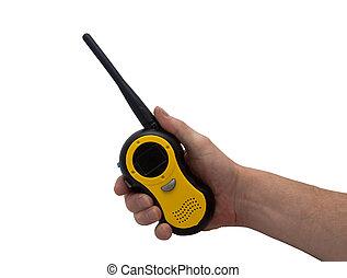 talkie, ręka, &, walkie
