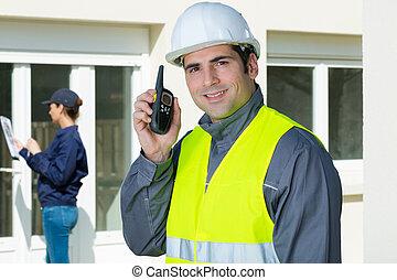 talkie, walkie, image, construction, contremaître, utilisation