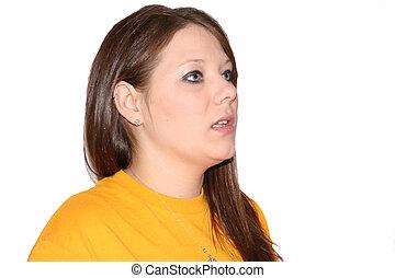 Talking 2 - Woman in yellow talking.
