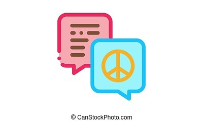 talking about tolerance and peace Icon Animation. color talking about tolerance and peace animated icon on white background