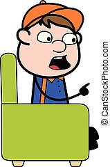 Talking and Pointing Finger - Retro Cartoon Carpenter Worker Vector Illustration