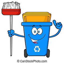 Talking Blue Recycle Bin Cartoon Mascot Character Pointing To A Open Lid