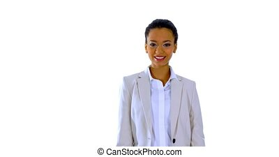Talking business woman or presenter