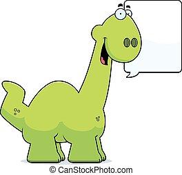 Talking Cartoon Apatosaurus - A cartoon illustration of a...