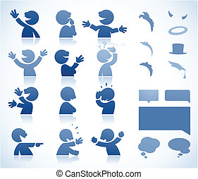 Talking cartoon character - Set of talking characters in...