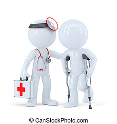 talking, crutches, пациент, врач
