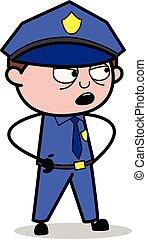Talking Expression - Retro Cop Policeman Vector Illustration
