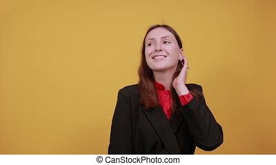 Talking Female Speaker, Gestures With Her Hands. Gossip, ...