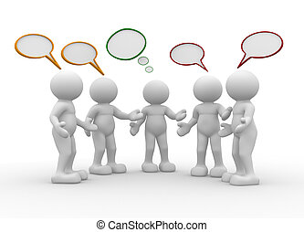 Talking - Five people talking - This is a 3d render ...
