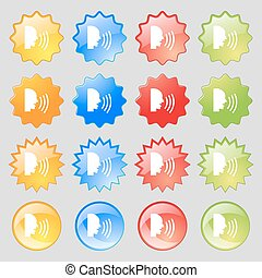 Talking Flat modern web icon. Big set of 16 colorful modern buttons for your design. Vector