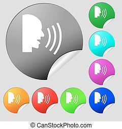 Talking Flat modern web icon. Set of eight multi colored round buttons, stickers. Vector