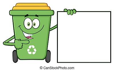 Talking Green Recycle Bin Cartoon Mascot Character Pointing...