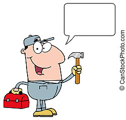 Construction Worker With Hammer And Speech Bubble