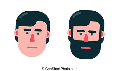 Talking head animated portrait. Abstract cartoon head of a...