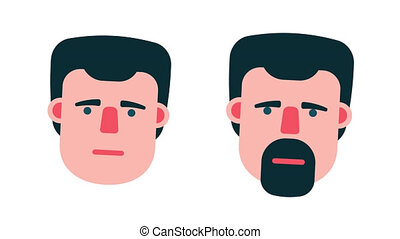 Talking male head cartoon flat style. A man with a beard and...