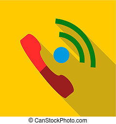 Talking on phone icon, flat style