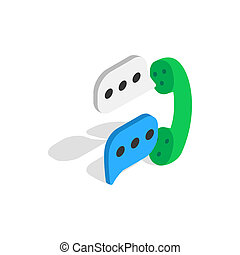 Talking on phone icon, isometric 3d style