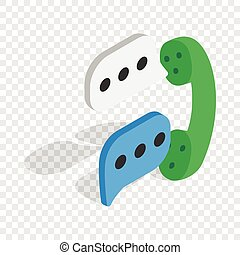 Talking on phone isometric icon