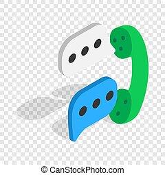 Talking on phone isometric icon