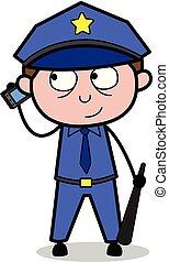 Talking on Phone - Retro Cop Policeman Vector Illustration