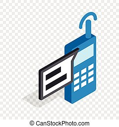 Talking on radio isometric icon