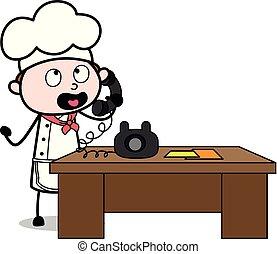 Talking on Telephone - Cartoon Waiter Male Chef Vector Illustration
