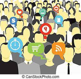 Talking people crowd