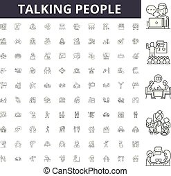 Talking people line icons, signs, vector set, outline concept illustration