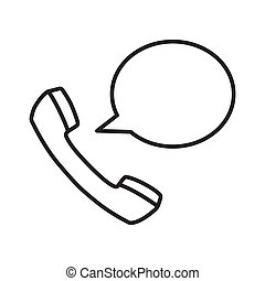 Talking phone icon with simple black line.