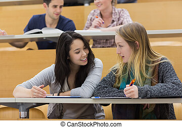 Talking students in a lecture hall - Talking students...
