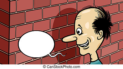 talking to a brick wall cartoon - Cartoon Humor Concept...