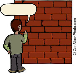 Talking To A Brick Wall - Wordplay illustration of person...