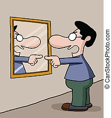 Talking to mirror - Man is talking to himself on the mirror