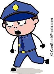 Talking While Walking - Retro Cop Policeman Vector Illustration