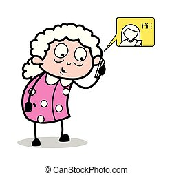 Talking with Friend on Call - Old Woman Cartoon Granny Vector Illustration