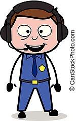Talking with Headphone - Retro Cop Policeman Vector Illustration