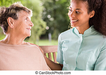 Talking with nurse