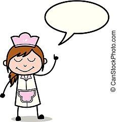 Talking with Speech Bubble - Retro Cartoon Waitress Female Chef Vector Illustration