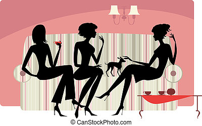 Talking women - Vector silhouettes of three ladies talking ...