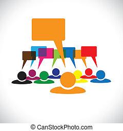 talking(speech, pojęcie, &, graphic-, pracownicy, wektor, ...