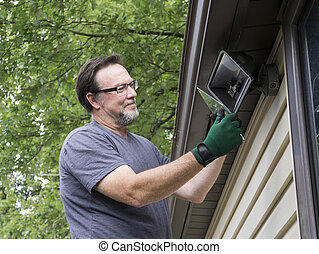 talkng, eletricista, luz, cobertura, vidro, exterior, desligado
