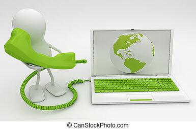 talkng, render., ringa, sammanhängande, internet., man, 3