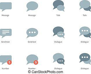 Talks and dialog bubble icons on white background