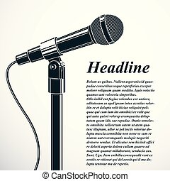 Mikrophon, vektor, begriff, politisch, reporting., abbildung ...