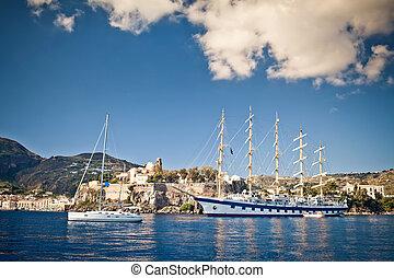 Tall 5-mast ship - Tall five mast ship at Mediterranean Sea