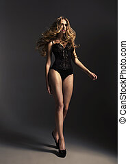 Tall alluring lady wearing sexy lingerie - Tall alluring...