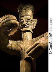 Tall Ancient Bronze Statue