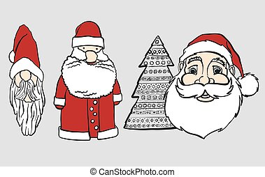 Tall and thick comic Santa Heads