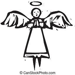 Tall angel in black and white in a woodcut style.
