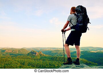 Tall backpacker with poles in hand. Sunny summer evenng in ...